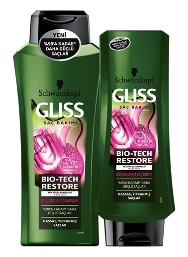 Schwarzkopf Gliss Bio-Tech Güçlendirici Şampuan 525 Ml + Saç Kremi 360 Ml Renksiz